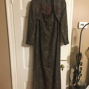 Carmen Marc Volvo size 14 brown beaded gown